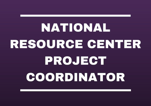 Graphic image saying National Resource Center Project Coordinator in white letters on purple background