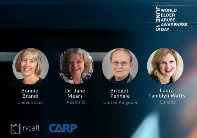 Graphic image for NCALL and CARP webinar: featuring four headshots of Bonnie Brandl, Dr. Jane Mears, Bridget Penhale, and Laura Tamblyn Watts
